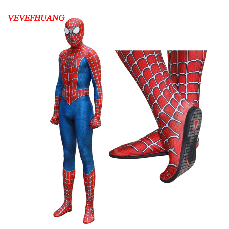 VEVEFHUANG Raimi Spiderman Kostuum Costume 3D Print Fullbody Halloween Cosplay Suit For Adult/Kids/Custom With shoes