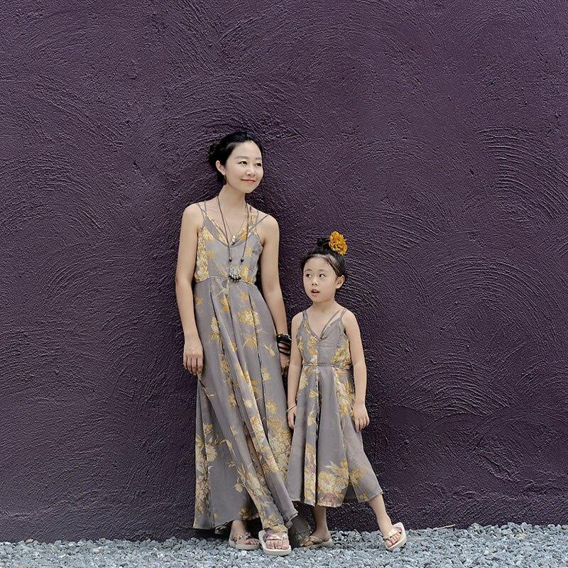 ФОТО children clothes women girls family matching clothes mother daughter beach dress Gray chiffon Long Backless Skirt Sexy Bohemian
