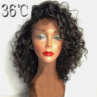 36C Curly Glueless Full Lace Wig Remy Hair Malaysian Side Part Short Human Hair Wig With