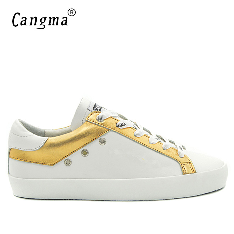 CANGMA Original Brand Men's Casual Gold White Sneakers Shoes Handmade Genuine Leather Bass Breathable Scarpa Man Shoes Plus Size