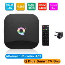 Q Plus Dispositivo de TV inteligente Android 9,0 Allwinner H6, decodificador de señal con 4GB/32GB, 6K, H.265, reproductor multimedia, USB 3,0, wi fi 2,4 GHz, PK S905X2, T95Q, X96 max