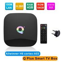 Q Plus 스마트 TV 박스 안드로이드 9.0 Allwinner H6 4GB/32GB 6K H.265 미디어 플레이어 USB3.0 2.4G WiFi 셋톱 박스 PK S905X2 T95Q X96 max