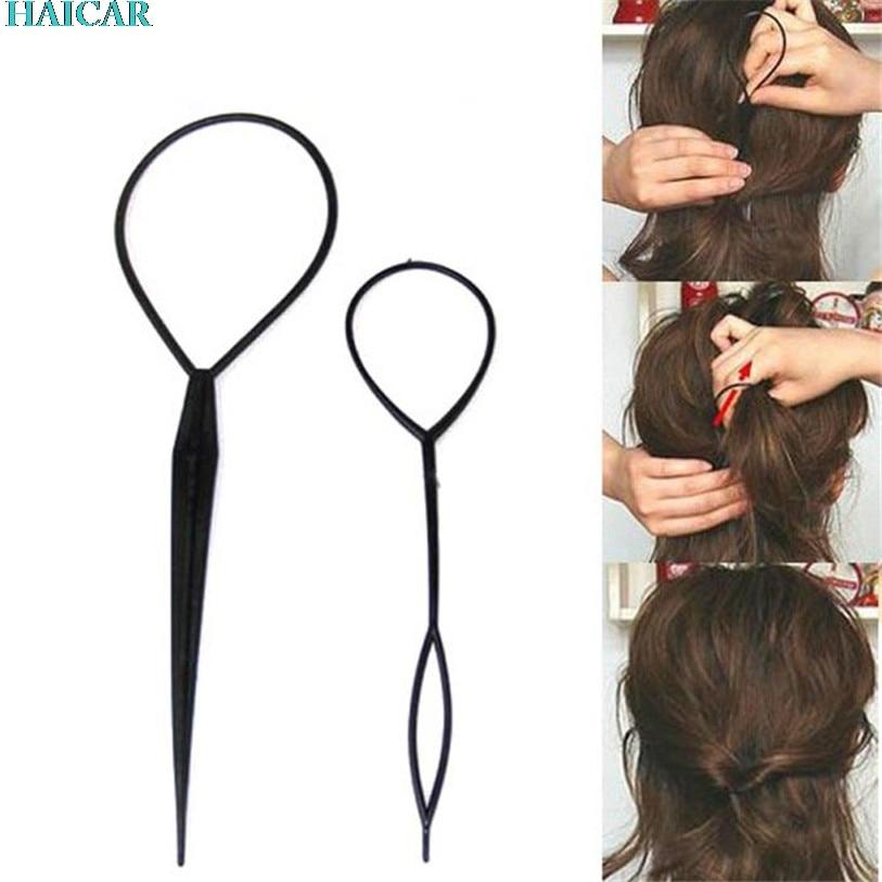 2Pcs Fashion Topsy Tail Hair Braid Pony Tail Maker 2 Sizes Hair Styling Tool Salon Levert Dropship 2MAR31