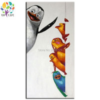 Hand Painted Wall Painting Funny Cute Lovely Penguins Canvas Oil Painting For Kids Room Baby Room