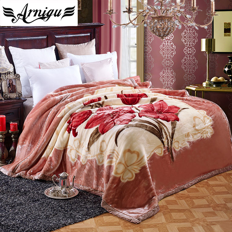 ФОТО Arnigu Double Face thicken Raschel Blanket Twin Full Queen size bedding floral print warm Bedsheet soft winter Throws/Comforter