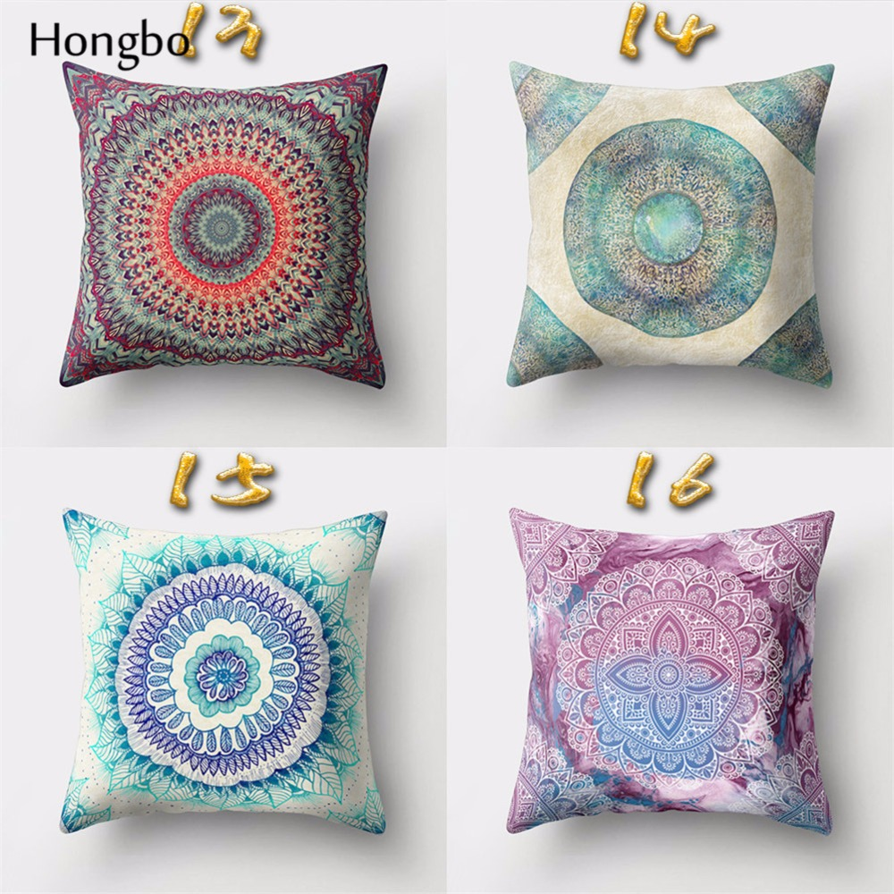 Hongbo 1 Pcs Mandala Pillowcase Datura Polyester Bohemian Throw Pillow Cover Home Decor