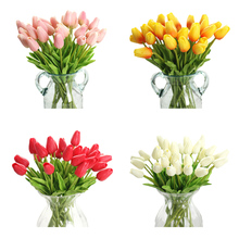 20Pcs Fake Red Tulips Silk Tulip Artificial Flowers Tulips For Home Decoration Lot Artificial Flowers For Wedding Tulip Bouquet