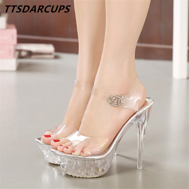 548c99dd716 New lady crystal high heels star high waterproof platform transparent  sandals Sexy wedding shoes Big size 35-43 9wedding sandals
