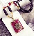 Envío Gratis flor Cristalina de la Manera de Cadena larga Del Suéter largo Collar de Cadena de la Capa del ESTILO de LA VENDIMIA collar de la joyería de regalo