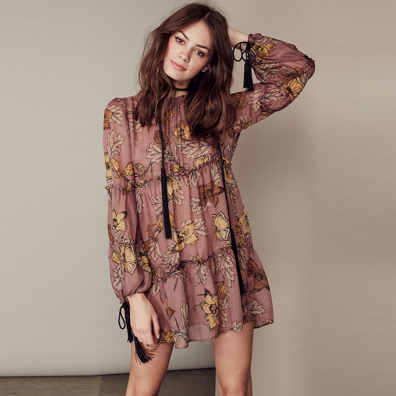 Boho People 2018 Spring Summer Short Dress Maxi Hippie Beach Holiday Wear Fl Print Dresses Tel O Neck Women Bohemia In From S