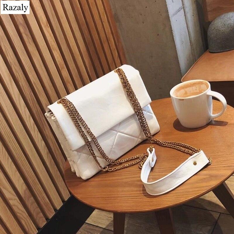 Razaly marque haute qualité designer pu cuir cartables vintage chaîne en métal sacs à main bandoulière sacs fourre-tout luxe enveloppe bolsas