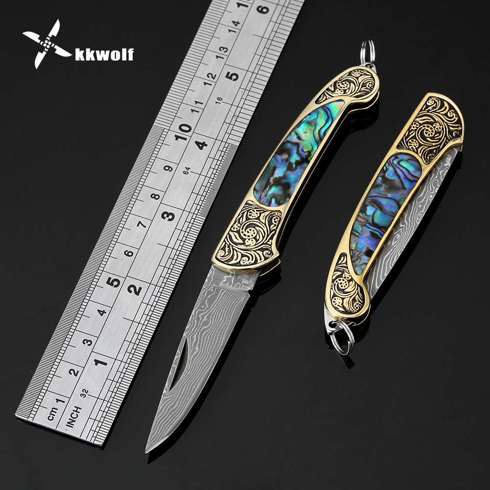 Exquisite folding knife Damascus Steel blade camping survival Rescue knives outdoor tactical hunting Portable Pocket knife doxa browning folding blade knife 7cr17mov stainless steel outdoor survival camping knife