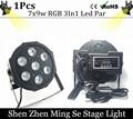 Free Shipping  7x9w led Par lights  RGB 3in1 flat par led dmx512  disco lights professional stage dj equipment