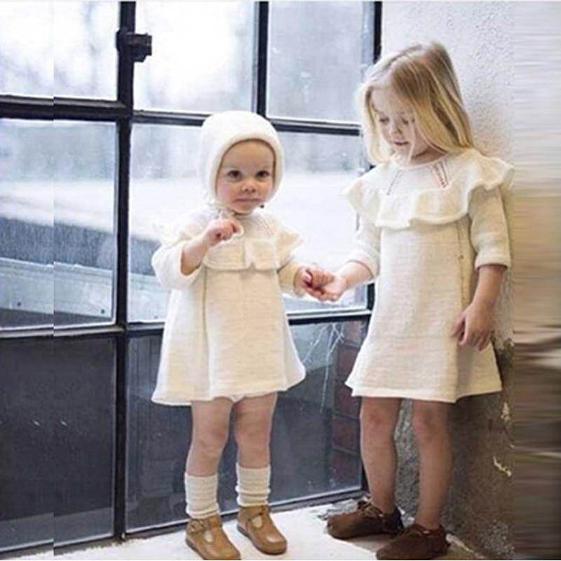 44a03099b7a Moda 2018 primavera otoño nueva Niñas tejer algodón vestido + sombrero 2  unidades engrosamiento niña princesa vestido niños invierno ropa