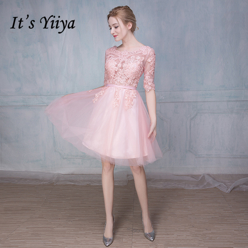 It's YiiYa Lace Half Sleeves Illusion Flower A-line Knee Length Zipper Dinner   Bridesmaids     Dresses   Party Short Formal   Dress   LX099