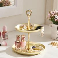 New Two tier Golden Jewelry Tray Serving Plate Metal Tray Food Storage Ornaments Necklace Ring Earring Tray Home Decoration