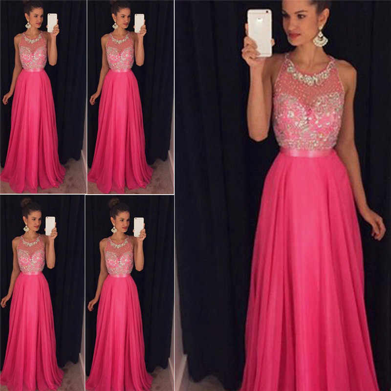 88ac8f693fe HIRIGIN Pop Women Sequin Prom Ball Gown Sleeveless Formal Evening Party  Night Formal Floor Length Maxi