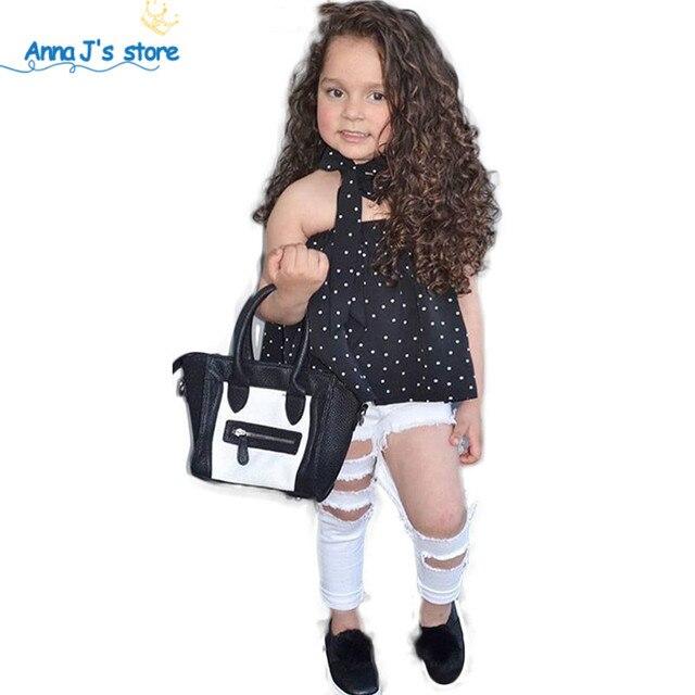 Nouveau Mode D'été Enfants Filles Vêtements Ensembles 2018 Sans Manches Polka Dot Sangle Filles costume Vêtements Ensembles Tenues Enfants Costumes TZ527