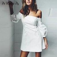 DeRuiLaDy Women Elegant Lantern Sleeve Lace Up Dress Sexy Off Shoulder Slim Mini White Dresses Casual