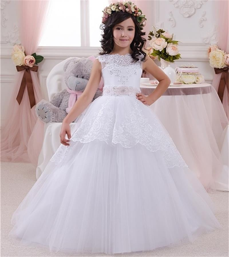 Sweet White Ivory Lace First Communion Dresses For Girls Ball Gowns ...