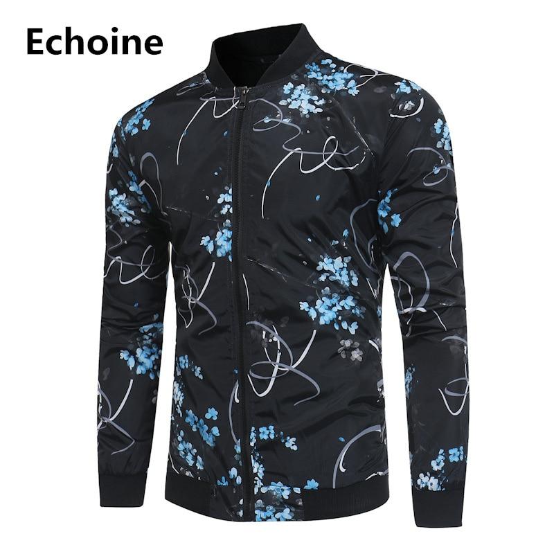 Winter Men Jakcet Floral Print Casual Jacket Slim Fit  Coat windbreaker men jaqueta masculina High Quality Wholesale Outwear