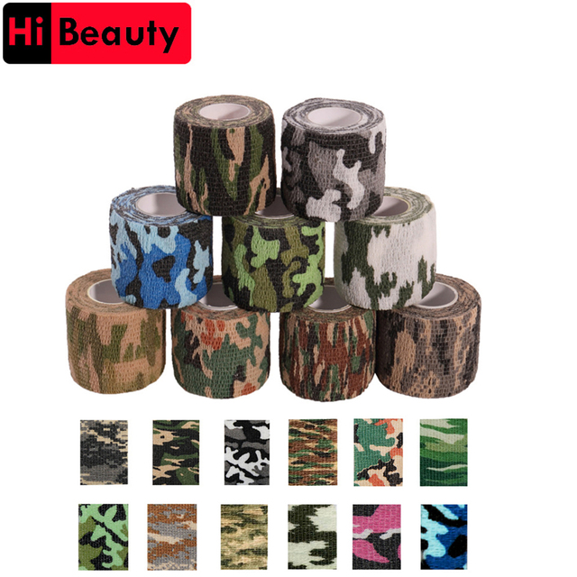 1 Roll 5*450cm Disposable Self-adhesive Flex Elastic Camouflage Bandage Tattoo Handle Grip Tube Wrap Elbow Stick Medical Tape