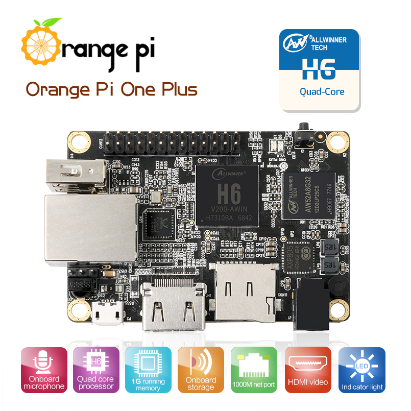 Orange Pi One Plus H6 1GB Quad-core 64bit development board Support android7.0 mini PC Звуковая карта