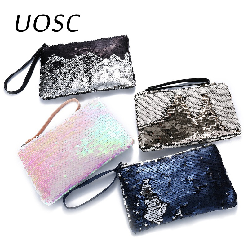 UOSC 2018 Women Girls Wallet Glitter Mermaid Sequin Cosmetic Bag Coin Card Purse Pouch Travel Makeup Case Zipper Storage Bag