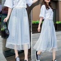 Women Long Light Blue Denim Mesh Skirts For Women Student Sweet Pleated Skirt New Summer Autumn Top Quaity