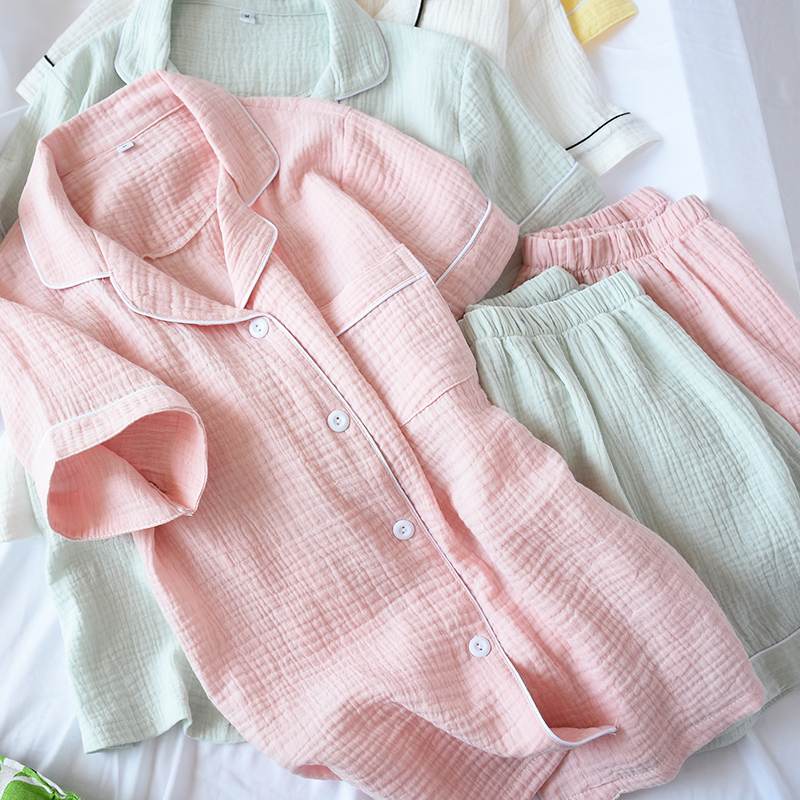 Summer Cotton Crepe Short-sleeved Shorts Pyjamas Women Solid Thin Sexy Pajamas Loungewear Sleepwear Pink Home Couple Pijamas