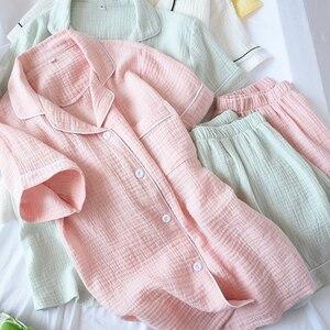 Image 1 - Summer Cotton Crepe Short sleeved Shorts Pyjamas Women Solid Thin Sexy Pajamas Loungewear Sleepwear Pink Home Couple Pijamas