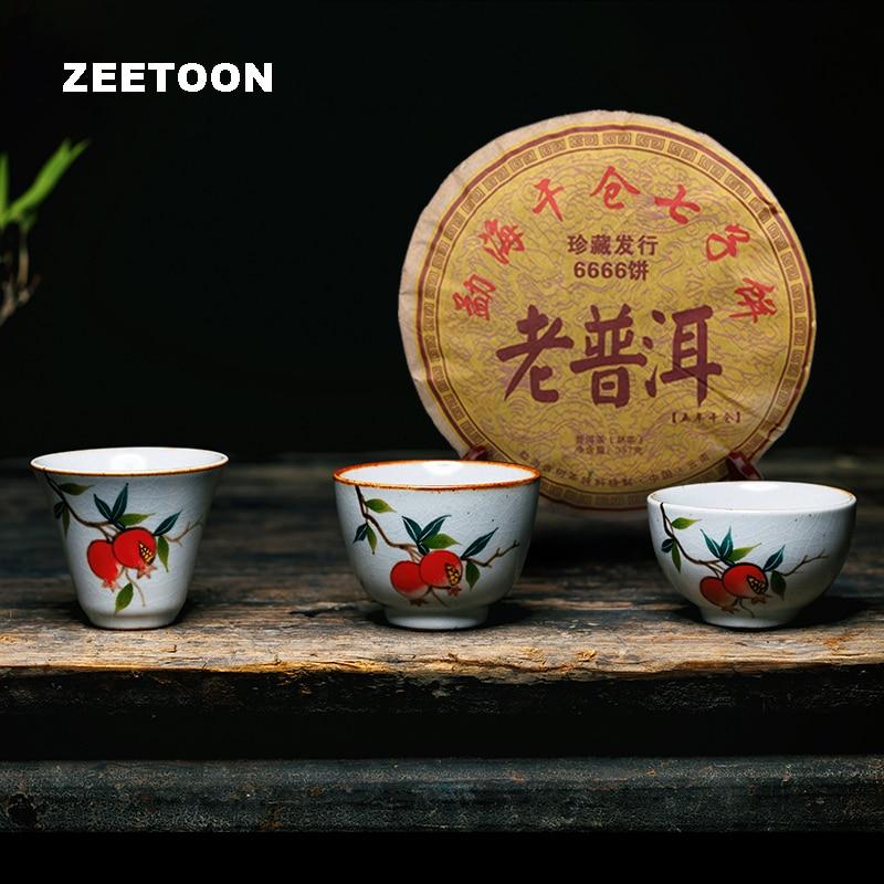70ml Jingdezhen Ceramic Crackle Glaze Hand Painted Teacup Vintage Puer Tea Cup Master Cup for 2006 357g Tea Cake Ripe Puer 6666