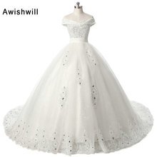 Awishwill A Line V Neck Off Shoulder Wedding Dresses