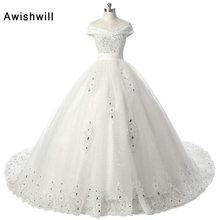 Awishwill A Line V Neck Off Shoulder Wedding Dresses