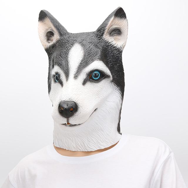 Siberian Husky Dog Costume Face Mask Party Latex Animal Head German Shepherd Costumes