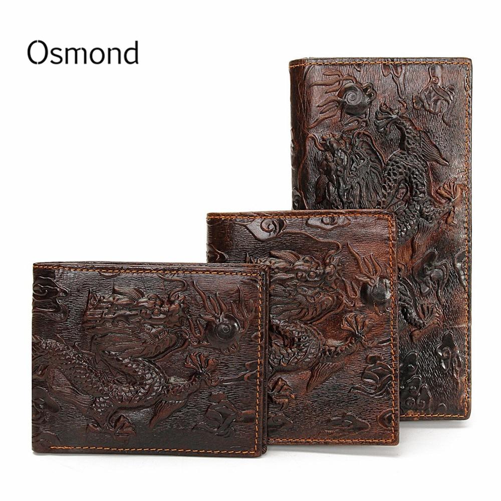 Osmond Vintage Genuine Leather Men's Wallets Brand Unique Design Chinese Dragon Pattern Male Folding Long Short Purse Cardholder