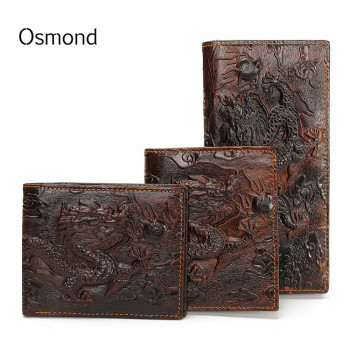 Osmond Vintage Genuine Leather Men's Wallets Brand Unique Design Chinese Dragon Pattern Male Folding Long Short Purse Cardholder