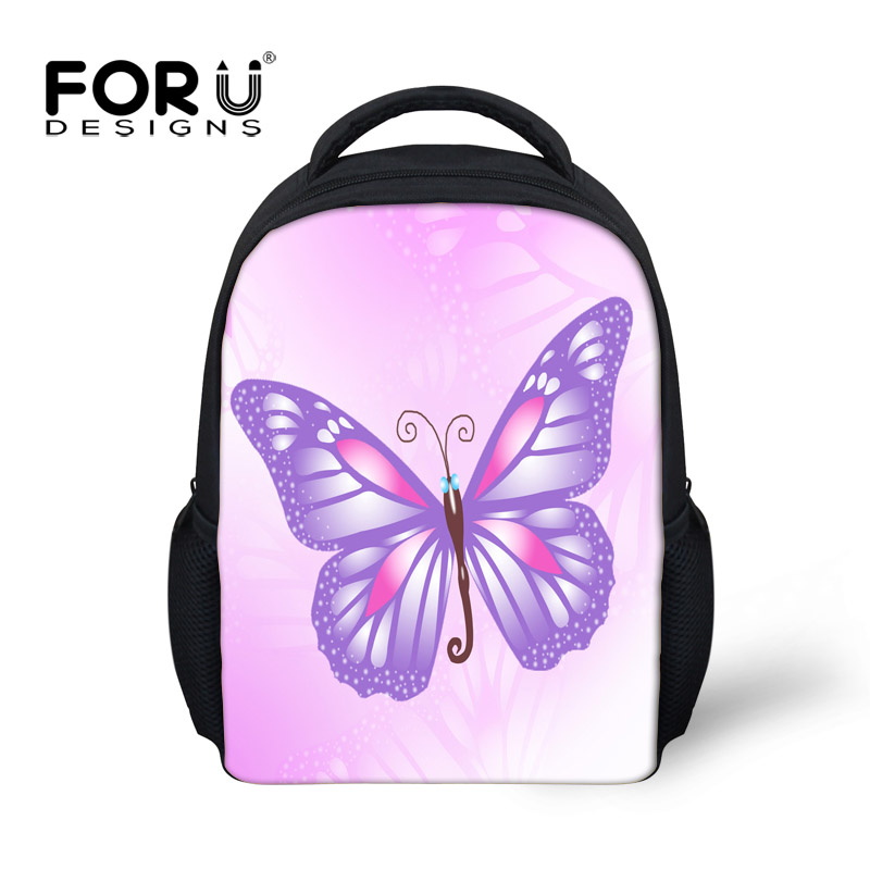 FORUDESIGNS 12 Inch Backpack Children Backpacks Kids Kindergarten Cute Pink Butterfly Printing School Backpacks For Teen