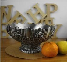 Европейский ретро резные круглый сплава металла вазу с фруктами хранения лоток сушат фрукты для украшения дома SG092