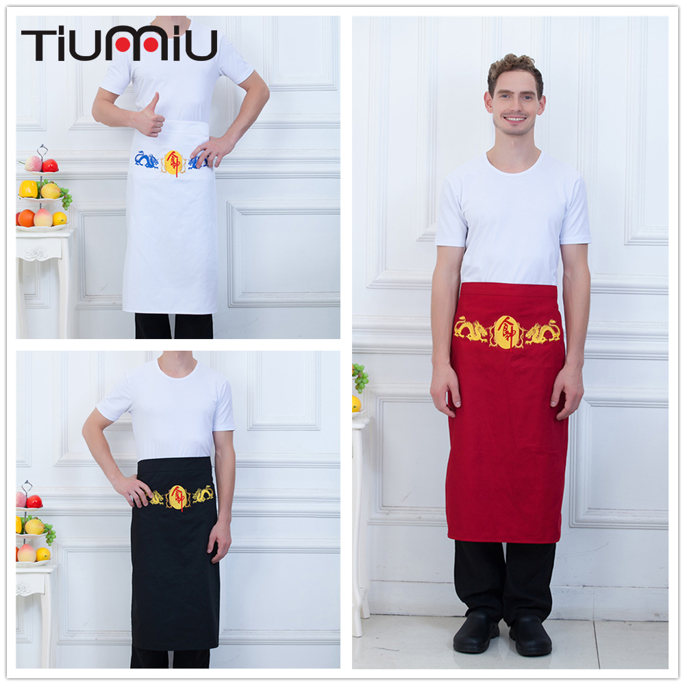 Black White Red Chinese Cooker Embroidery Chef Apron Unisex Kitchen Hotel Coffee Shop Bakery Chef Waiter Cleaning Workwear Apron