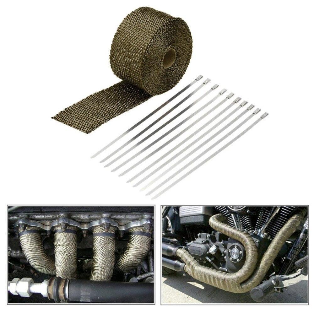 5mx5cmx1.5mm Exhaust Muffler Pipe Heat Insulation Adhesive Tape Titanium Fibre Car Motorcycle Heat Insulation Tape Top Sale