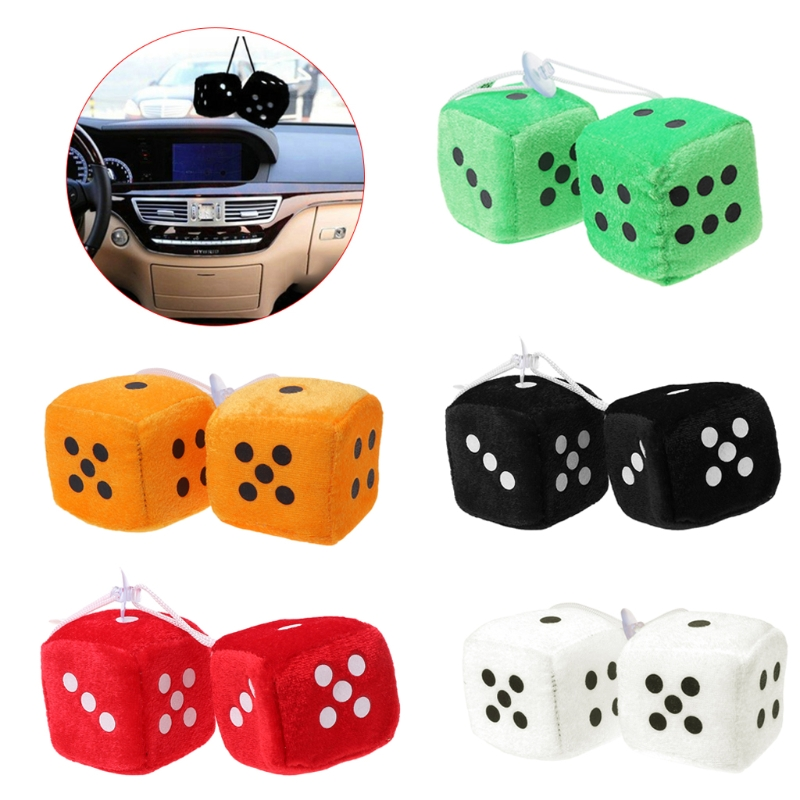 1 Pair Fuzzy Dice Dots Rear View Mirror Hanger Decoration Car Pendant Styling Accessorie
