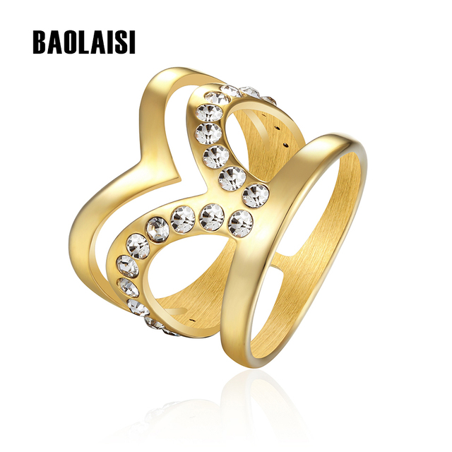 BAOLAISI Europe Style Fairy Crystal Ring Gold color Size 6 9 Rings