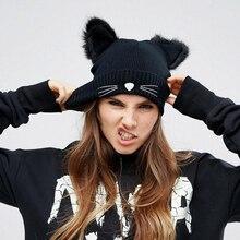 BONJEAN Women Cat Ear Cute Crochet Braided Knit Beanie Ski Wool Warm Cap Hat Female Fur Beanies Bonnet Femme pompom Caps