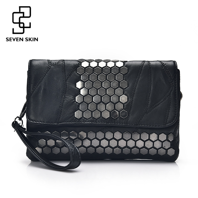 SEVEN SKIN Brand Women Messenger Bags Genuine Leather Female Handbag Fashion Designer High Quality Clutch Shoulder Bag for Women 100% genuine leather women bags luxury serpentine real leather women handbag new fashion messenger shoulder bag female totes 3