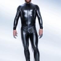 Plus M XXXL Strong Men Black PVC Leather Latex Bodysuit Top PU Sexy Zentai Catsuit Gay