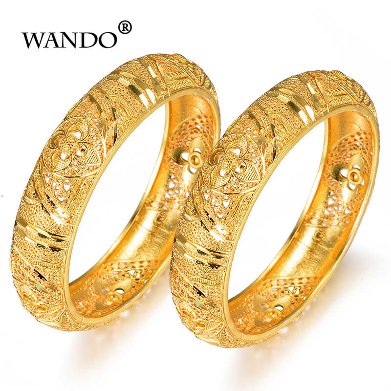 WANDO India Brass Openable Screw Bracelet Bangle Flowers Arab Ethiopian Africa Dubai Gold Color Bangle Jewelry Gift b152