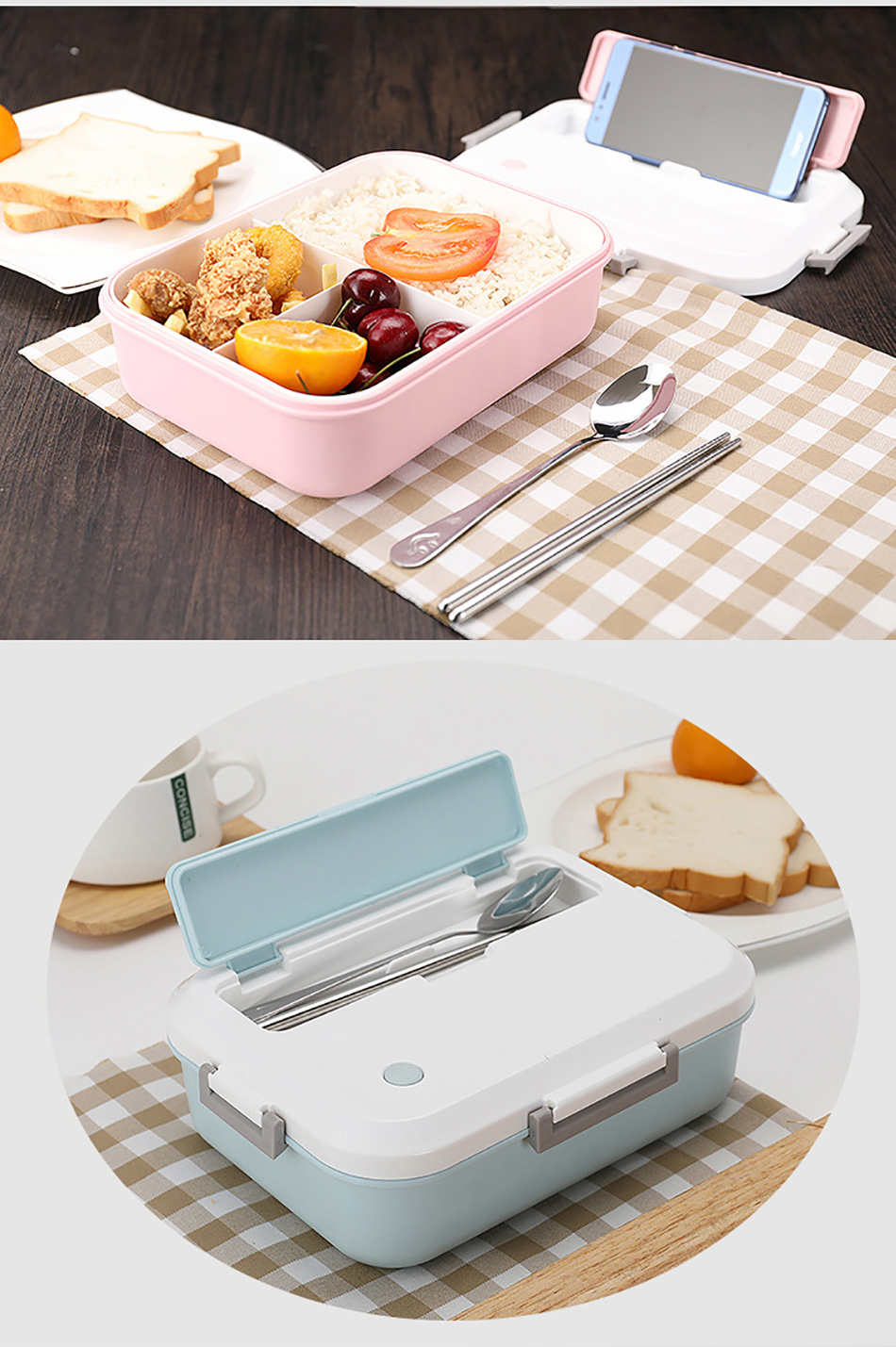 ONEUP Lunch Box BPA FREE Eco-Friendly Food Container With Tableware Microwavable Bento Box for kids adult school Office picnic 11