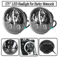 """Motorcycle Accessories 5.75"""" harley headlight High And Low Beam Led Lamp For Harley Sportster, Iron 883, Dyna, Street Bob FXDB"""