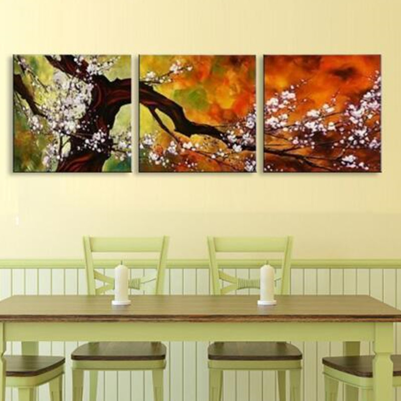 Handpainted Abstract Flowers Oil Painting Chinese White Plum Flower ...
